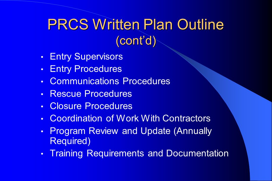 PRCS Written Plan Outline (cont'd)