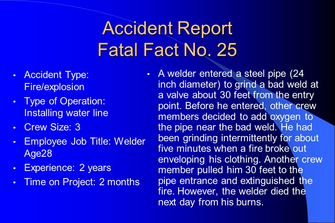 Accident Report Fatal Fact No. 25