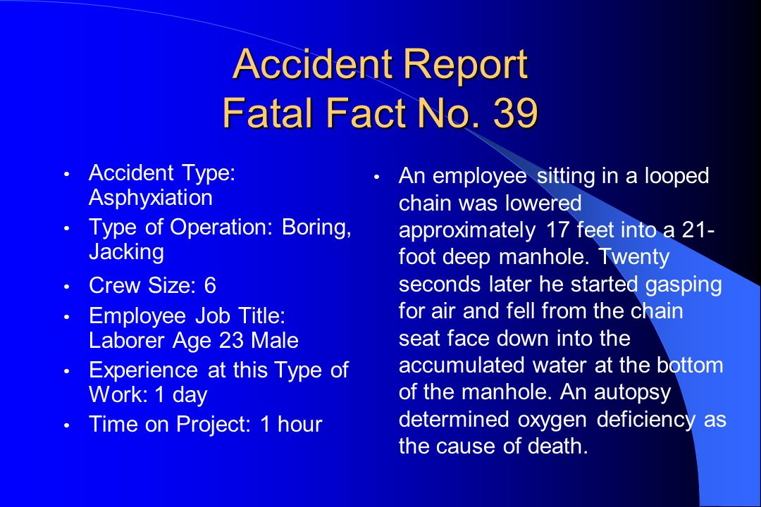 Accident Report Fatal Fact No. 39