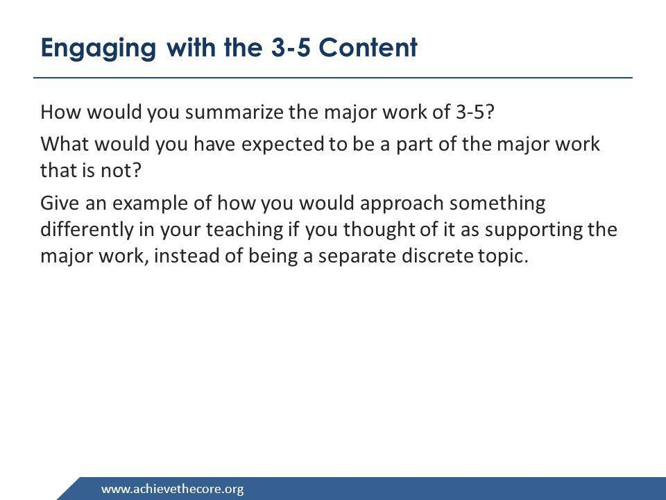 Engaging with the 3-5 Content