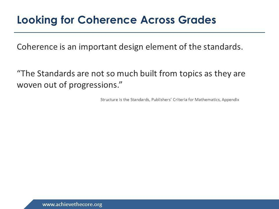 Looking for Coherence Across Grades