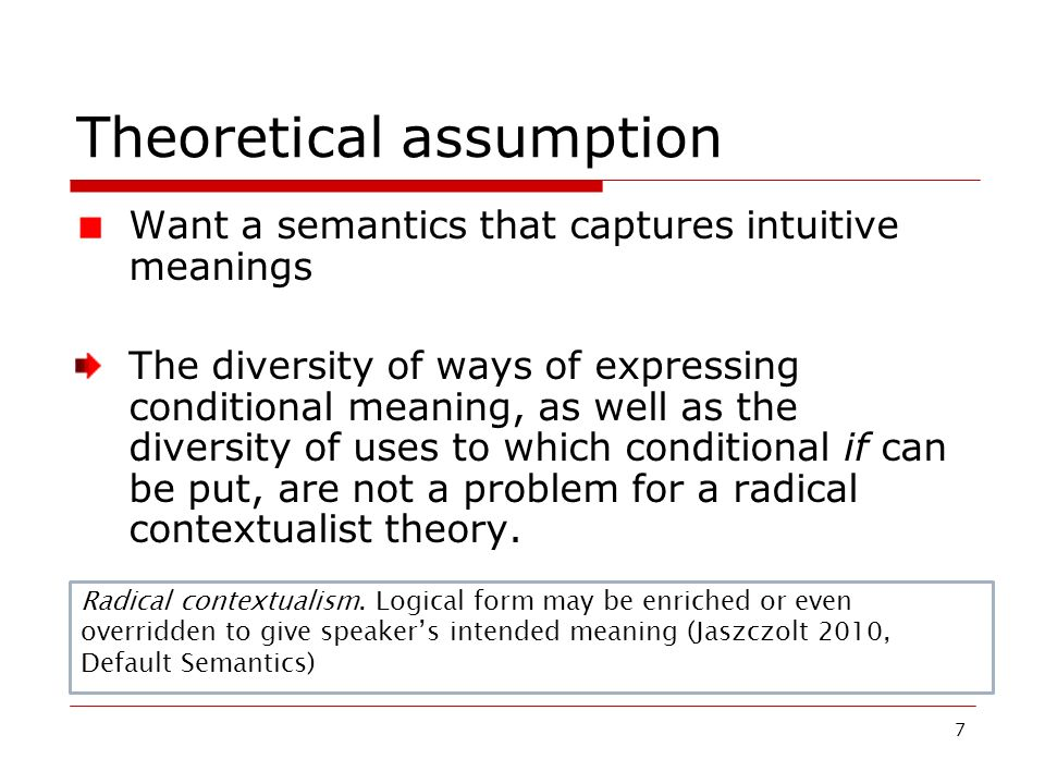Theoretical assumption