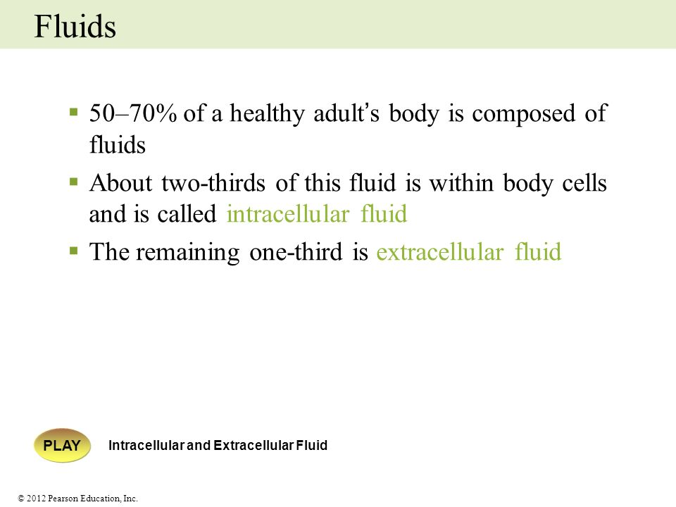 Fluids 50–70% of a healthy adult's body is composed of fluids