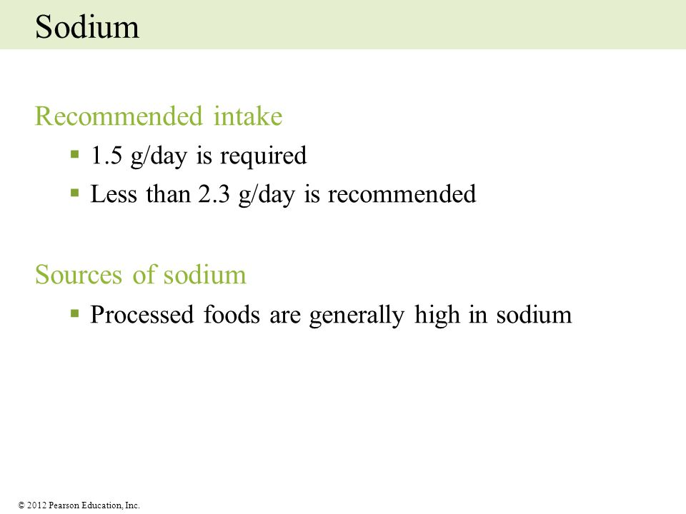 Sodium Recommended intake Sources of sodium 1.5 g/day is required