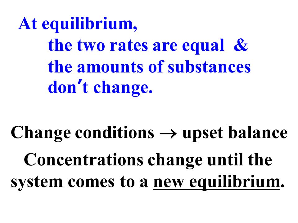 Concentrations change until the system comes to a new equilibrium.