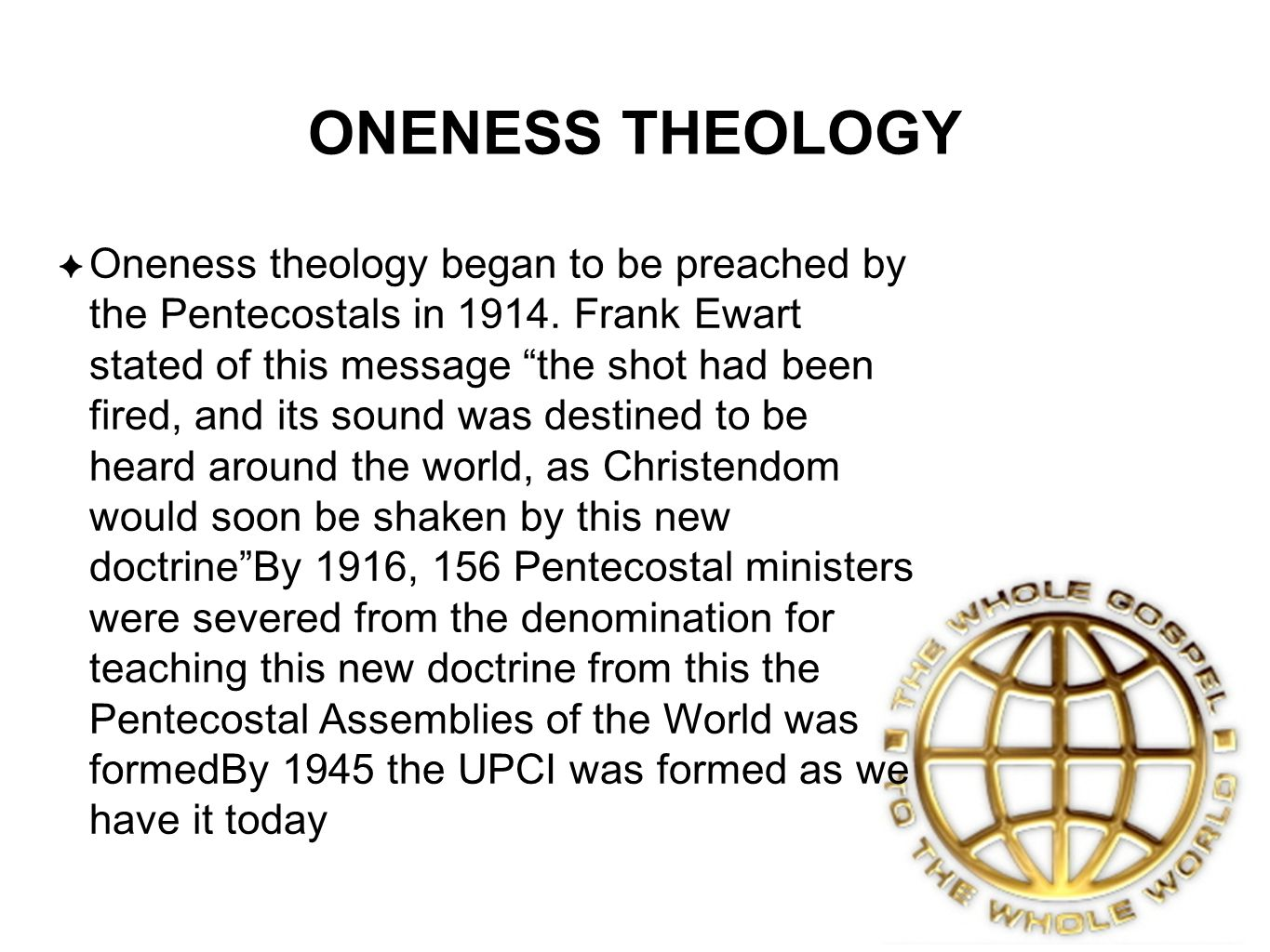ONENESS THEOLOGY