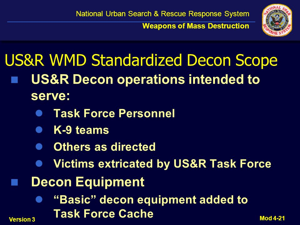 US&R WMD Standardized Decon Scope