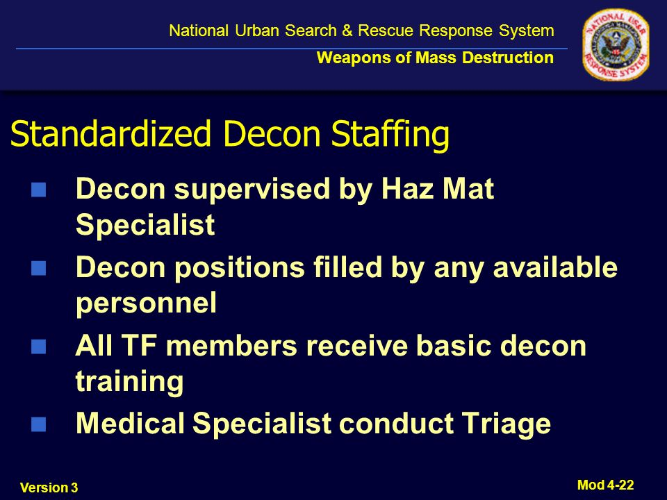 Standardized Decon Staffing