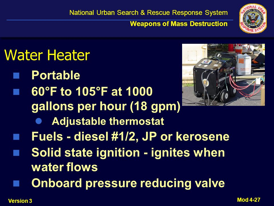 Water Heater Portable 60°F to 105°F at 1000 gallons per hour (18 gpm)