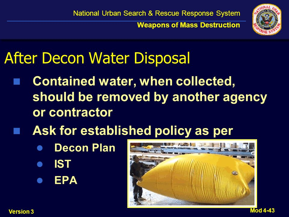 After Decon Water Disposal