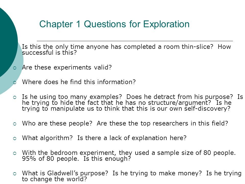 Chapter 1 Questions for Exploration
