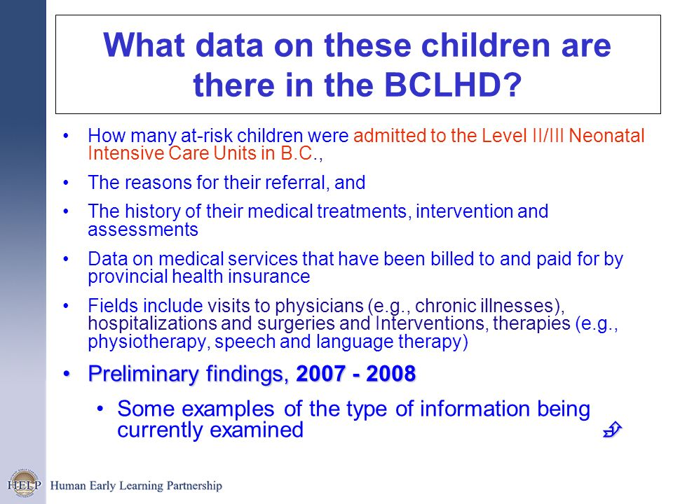What data on these children are there in the BCLHD