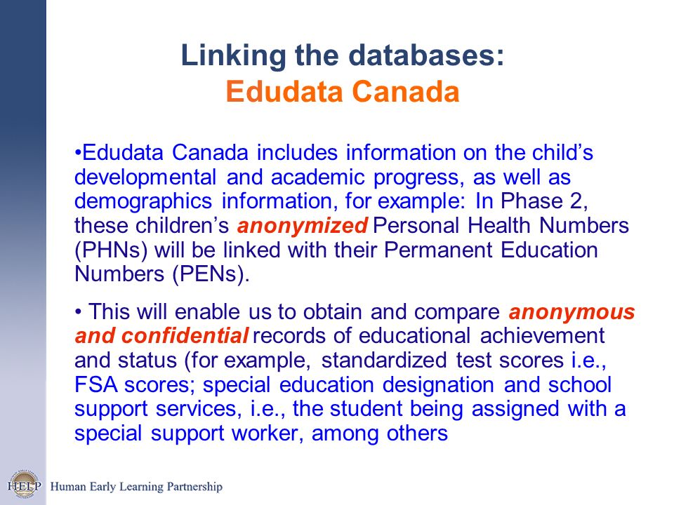 Linking the databases: Edudata Canada