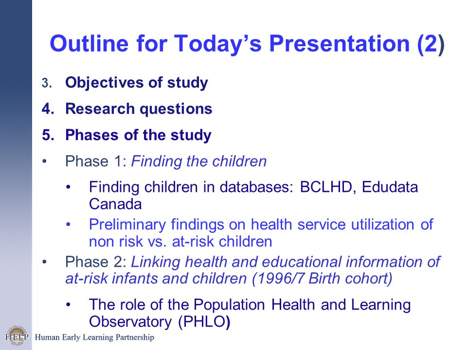 Outline for Today's Presentation (2)