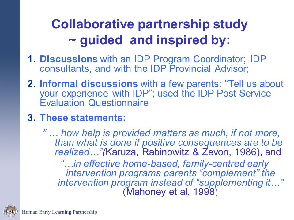 Collaborative partnership study ~ guided and inspired by: