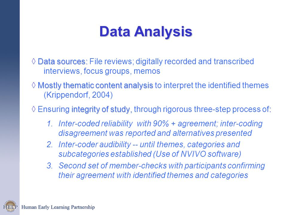 Data Analysis ◊ Data sources: File reviews; digitally recorded and transcribed interviews, focus groups, memos.