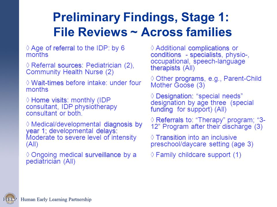 Preliminary Findings, Stage 1: File Reviews ~ Across families
