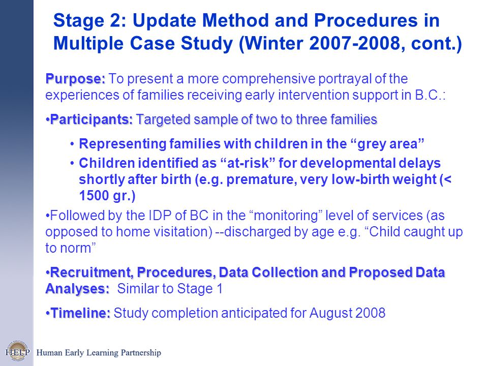 Stage 2: Update Method and Procedures in Multiple Case Study (Winter 2007-2008, cont.)