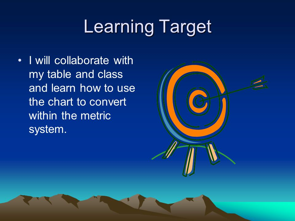 Learning Target I will collaborate with my table and class and learn how to use the chart to convert within the metric system.