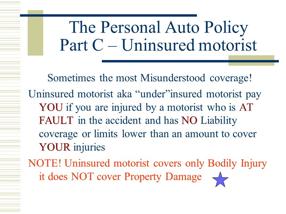 The Personal Auto Policy Part C – Uninsured motorist