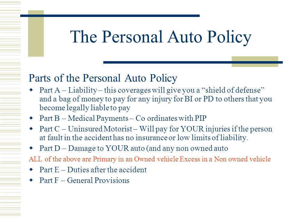The Personal Auto Policy