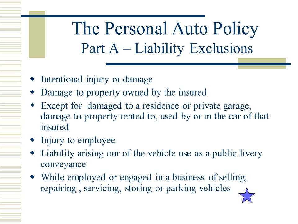 The Personal Auto Policy Part A – Liability Exclusions
