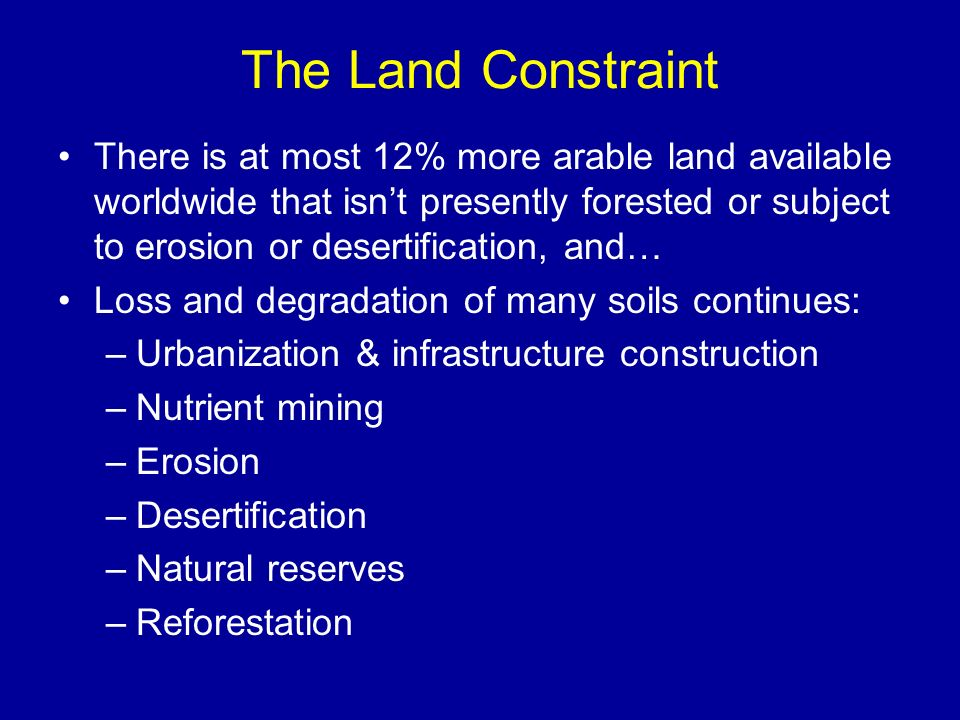 The Land Constraint