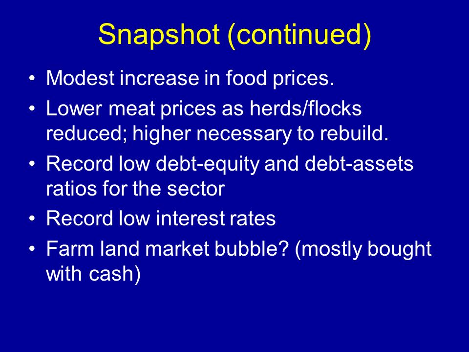 Snapshot (continued) Modest increase in food prices.