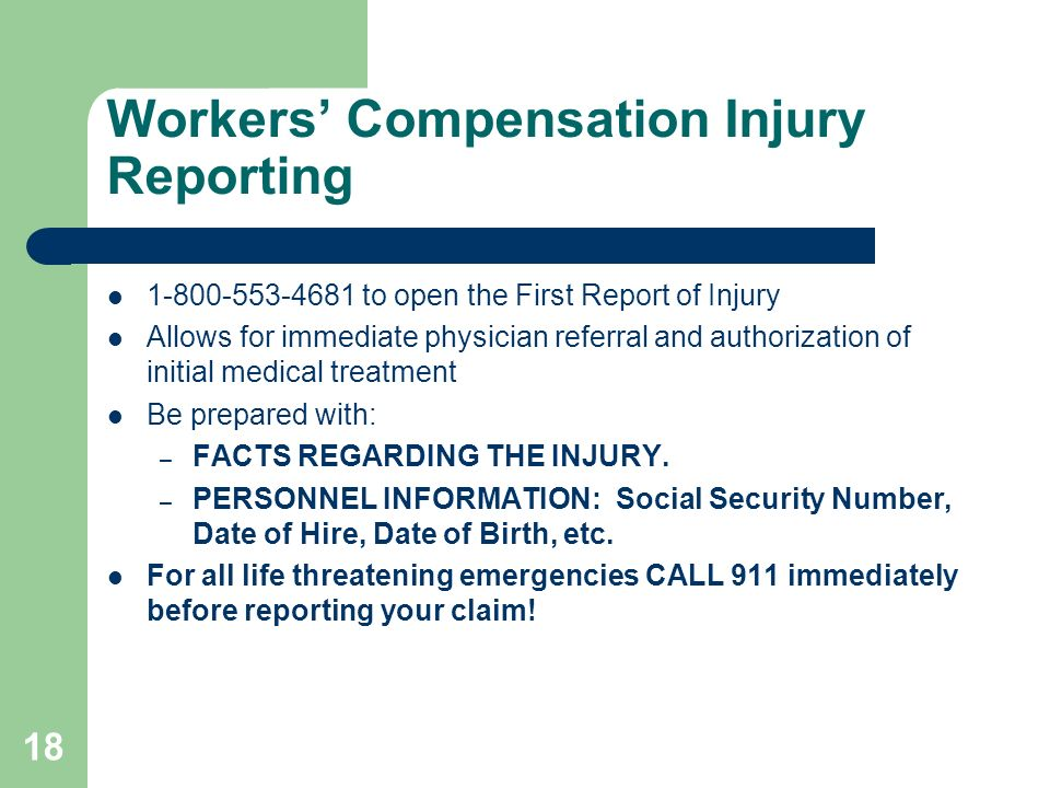 Workers' Compensation Injury Reporting