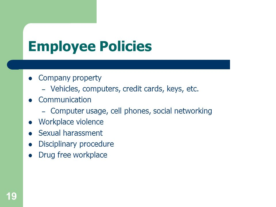 Employee Policies Company property