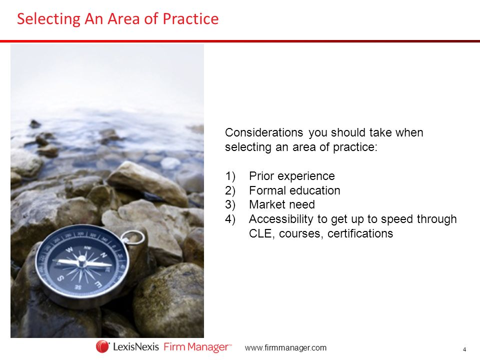 Selecting An Area of Practice