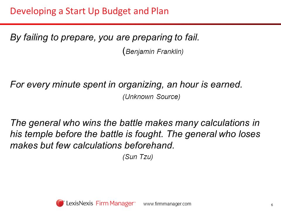 Developing a Start Up Budget and Plan