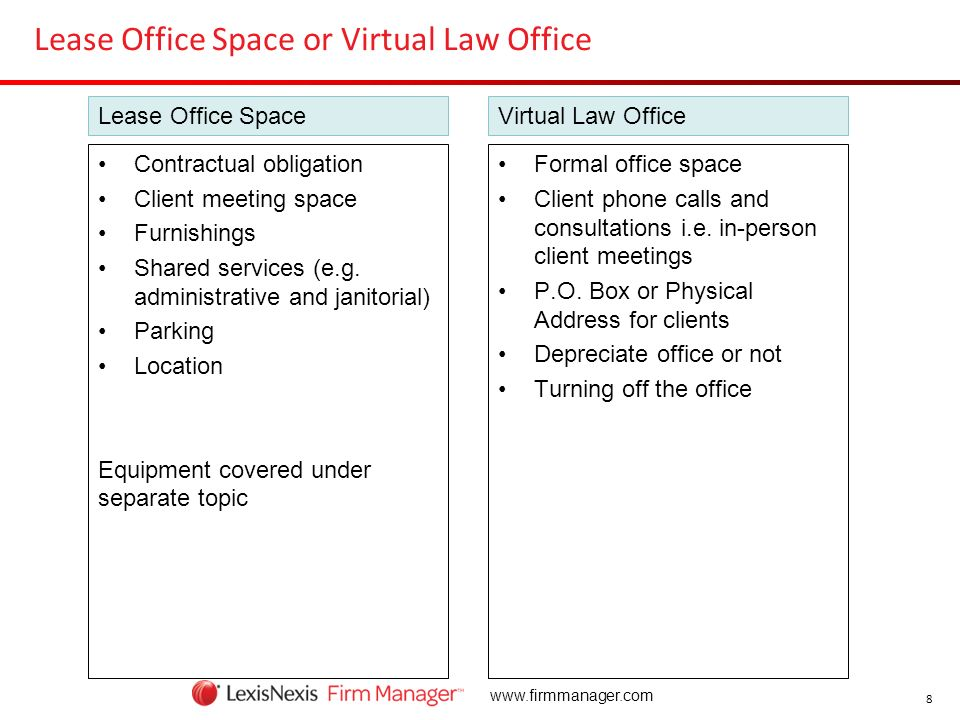 Lease Office Space or Virtual Law Office