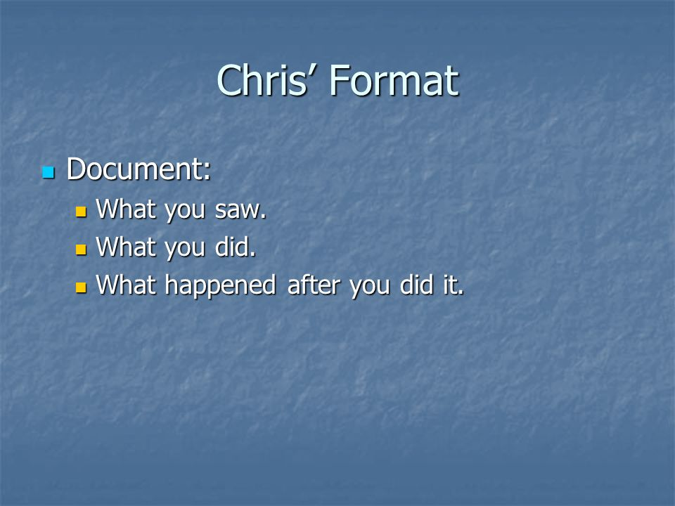 Chris' Format Document: What you saw. What you did.
