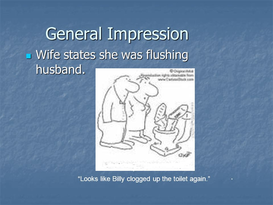 General Impression Wife states she was flushing husband.