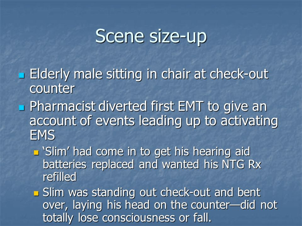 Scene size-up Elderly male sitting in chair at check-out counter