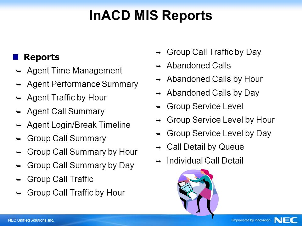 InACD MIS Reports Reports Group Call Traffic by Day Abandoned Calls