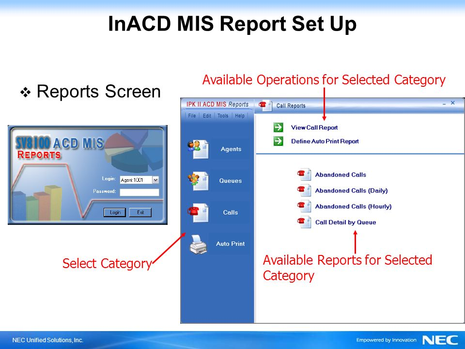 InACD MIS Report Set Up Reports Screen SV8100