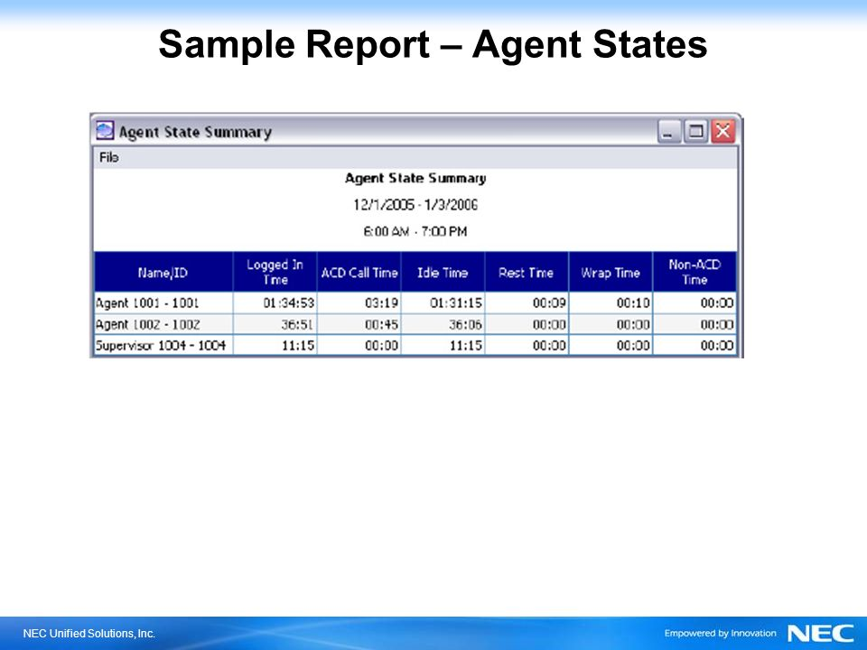 Sample Report – Agent States