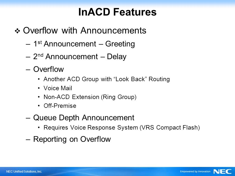 InACD Features Overflow with Announcements 1st Announcement – Greeting