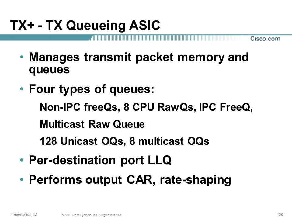 TX+ - TX Queueing ASIC Manages transmit packet memory and queues