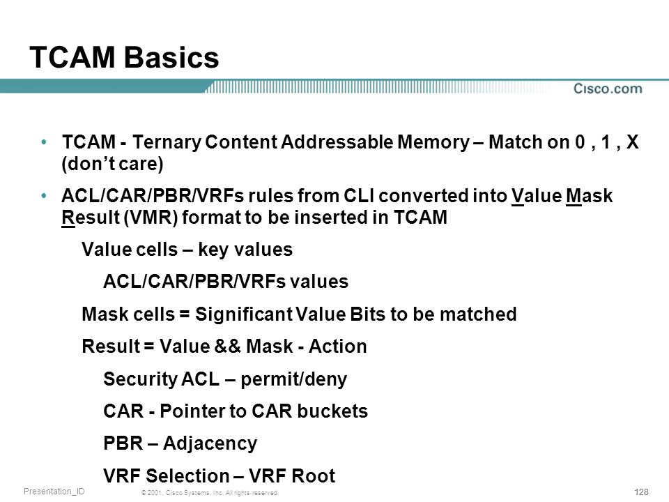 TCAM Basics TCAM - Ternary Content Addressable Memory – Match on 0 , 1 , X (don't care)