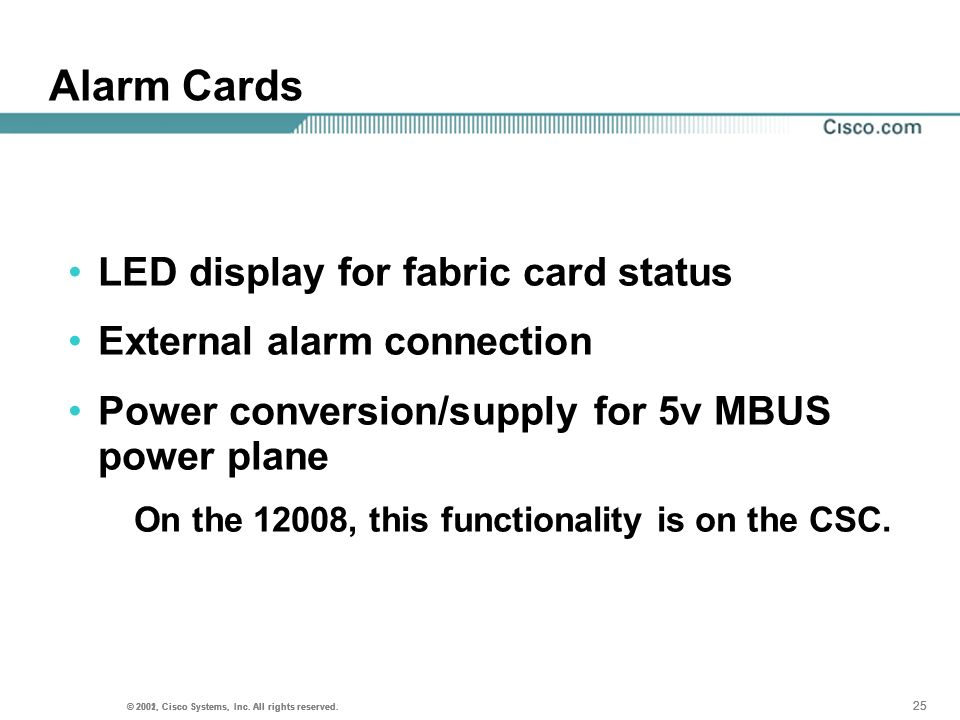 Alarm Cards LED display for fabric card status