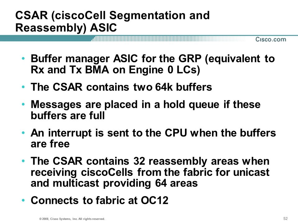 CSAR (ciscoCell Segmentation and Reassembly) ASIC