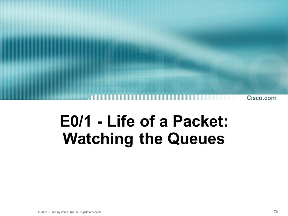 E0/1 - Life of a Packet: Watching the Queues
