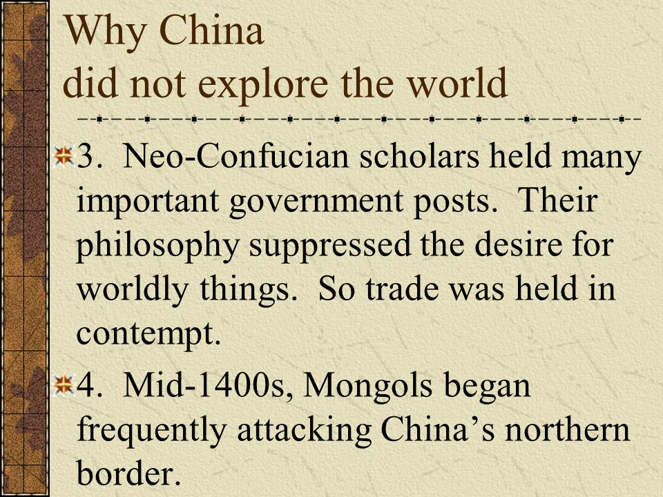 Why China did not explore the world