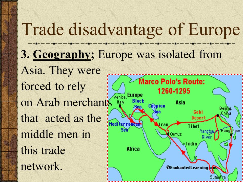 Trade disadvantage of Europe
