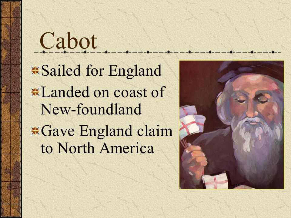 Cabot Sailed for England Landed on coast of New-foundland
