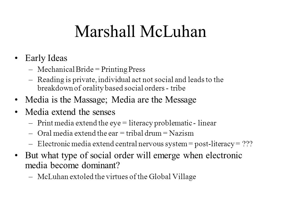 Marshall McLuhan Early Ideas