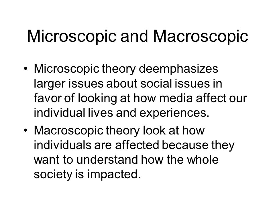 Microscopic and Macroscopic
